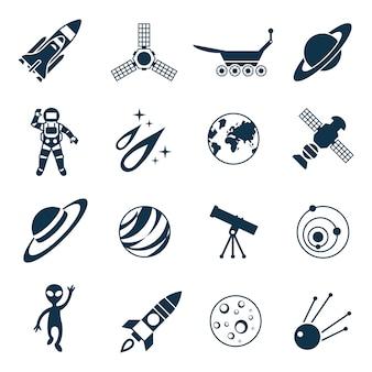 Zestaw ikon astronomii kosmicznej i rakiety