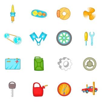 Zestaw ikon auto części zamiennych