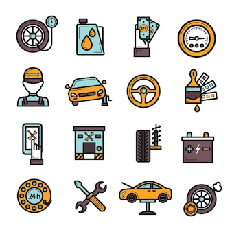 Zestaw ikon auto service