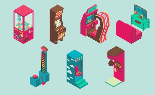 Zestaw ikon automat do gier zręcznościowych ilustracji wektorowych płaski izometryczny