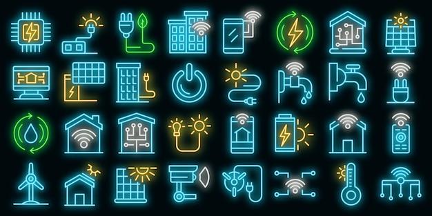 Zestaw ikon autonomicznego domu. zarys zestaw autonomicznych ikon wektorowych domu w kolorze neonowym na czarno