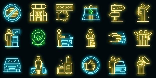 Zestaw ikon autostopu. zarys zestaw ikon wektorowych autostop w kolorze neonowym na czarno