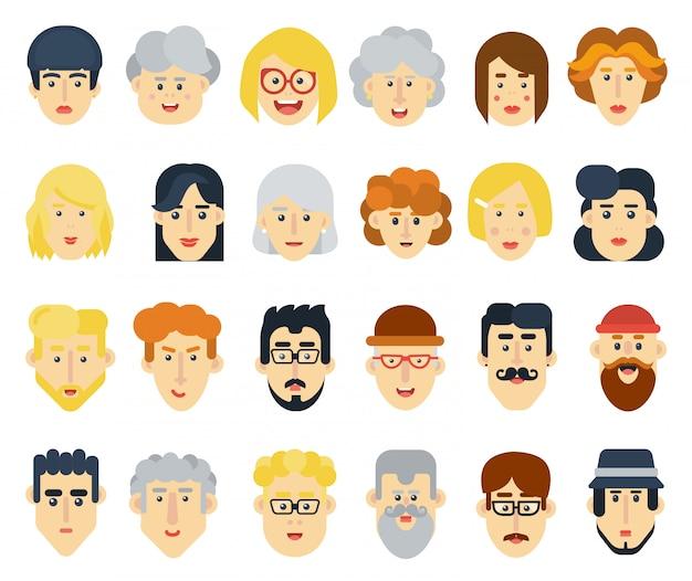 Zestaw ikon avatary śmieszne ludzie płaski