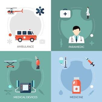 Zestaw ikon awaryjnego ratownika medycznego