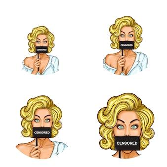 Zestaw ikon awatara pop-artu dla użytkowników sieci społecznościowych, blogów, ikon profilu.