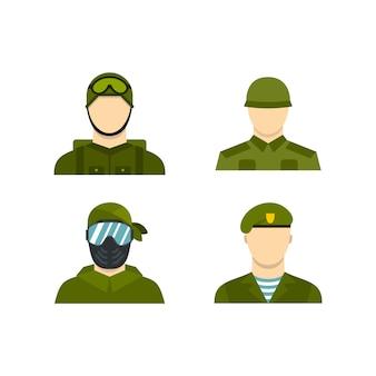 Zestaw ikon awatara wojskowego. płaski zestaw wojskowych avatar wektor zbiory ikon na białym tle
