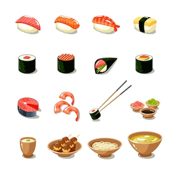 Zestaw ikon Azji żywności