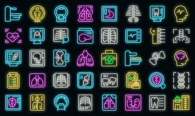 Zestaw ikon badania rentgenowskiego wektor neon