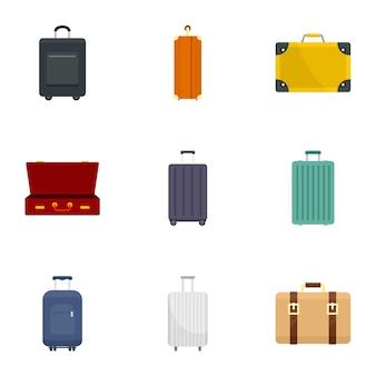 Zestaw ikon bagażu podróży, płaski