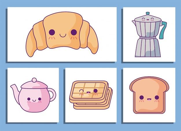Zestaw ikon bajki śniadanie i jedzenie