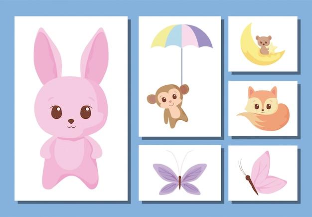 Zestaw ikon bajki uroczych zwierzątek