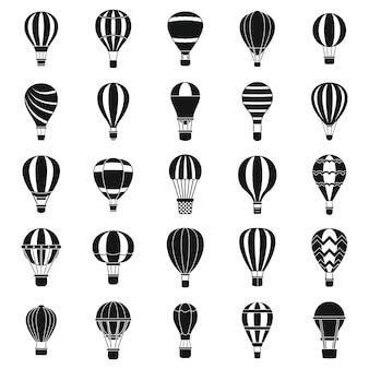 Zestaw ikon balon na gorące powietrze