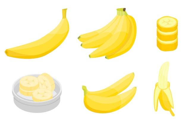 Zestaw ikon bananów, styl izometryczny