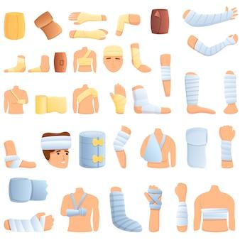 Zestaw ikon bandaż. kreskówka zestaw ikon wektorowych bandaż