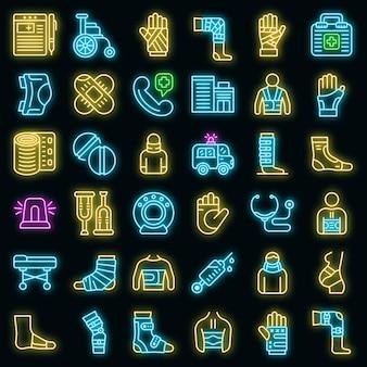 Zestaw ikon bandaż. zarys zestaw ikon wektorowych bandaż w kolorze neonowym na czarno