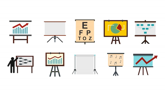 Zestaw ikon banerów konferencyjnych. płaski zestaw kolekcja ikon transparent wektor konferencji na białym tle