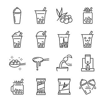 Zestaw ikon baniek herbaty.