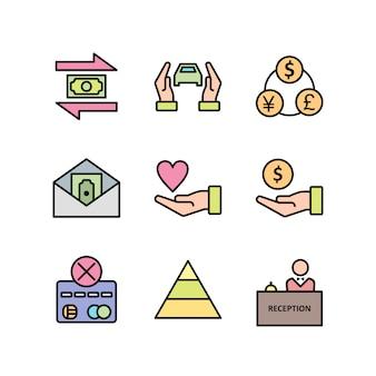 Zestaw ikon bankowych arkusz