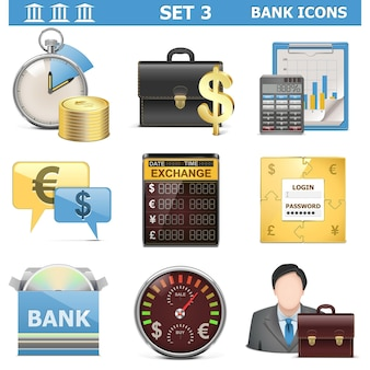 Zestaw ikon banku wektor 3