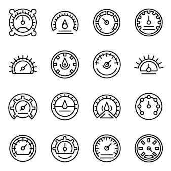 Zestaw ikon barometr, styl konturu