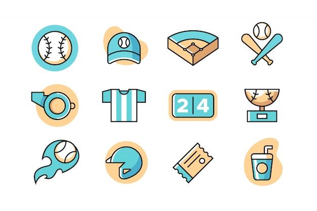 Zestaw ikon baseballu