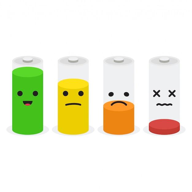 Zestaw ikon baterii. zestaw wskaźników poziomu naładowania akumulatora z uśmiechem