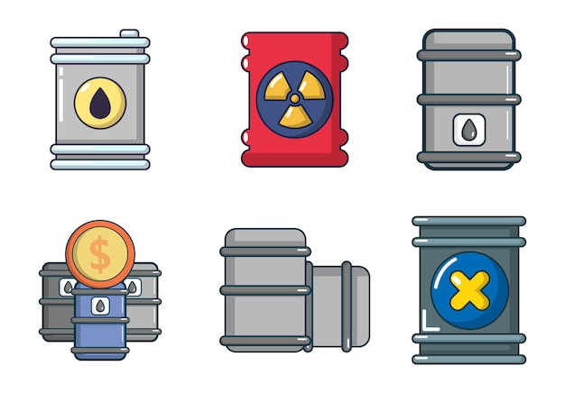 Zestaw ikon beczki. kreskówka zestaw ikon beczki wektor zestaw na białym tle