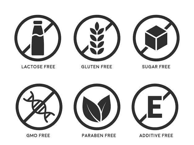 Zestaw ikon bezglutenowe, bez laktozy, bez gmo, bez parabenów, bez dodatku do żywności, bez cukru. ilustracja wektorowa.