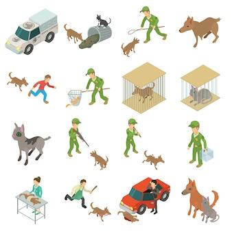 Zestaw ikon bezpańskich zwierząt. izometryczna ilustracja 16 bezpańskich zwierząt wektorowe ikony dla sieci