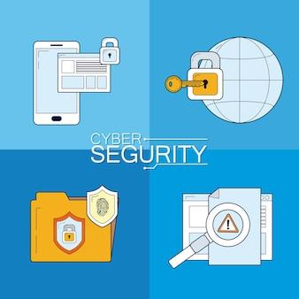 Zestaw ikon bezpieczeństwa cybernetycznego