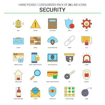Zestaw ikon bezpieczeństwa linii płaskiej