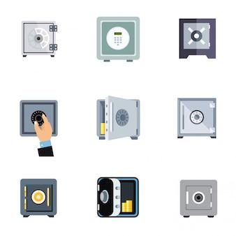 Zestaw ikon bezpiecznego banku płaski