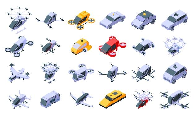 Zestaw ikon bezzałogowych taksówek, izometryczny styl