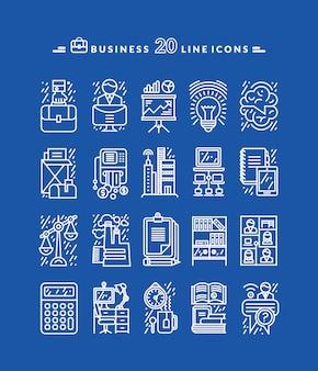 Zestaw ikon biały biznes