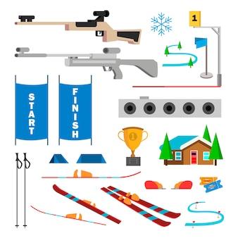 Zestaw ikon biathlon wektor. akcesoria do biathlonu. cel, pistolet, cel, start, zakończ. na białym tle płaski kreskówka