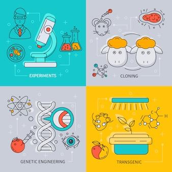 Zestaw ikon biotechnologii