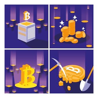 Zestaw ikon bitcoin wydobywania kryptowalut