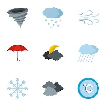 Zestaw ikon biura meteorologicznego, płaski
