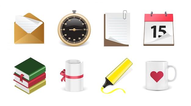 Zestaw ikon biurowych 3d