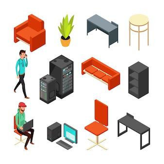 Zestaw ikon biurowych izometryczny. komputery, serwer, zakład i personel techniczny. płaski wektor ilustracja komputer serwera do sieci internetowej