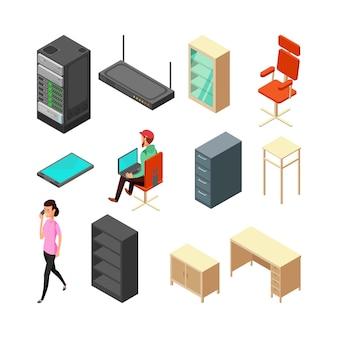 Zestaw ikon biurowych izometryczny. serwer, fotel, stół, szafka i personel. ilustracja wektorowa płaski. fotel i krzesło biurowe, stół i router