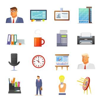 Zestaw ikon biurowych płaski