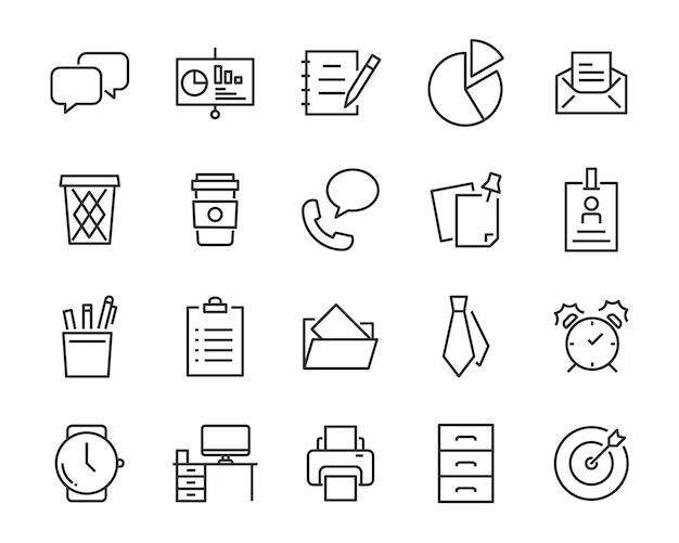 Zestaw ikon biurowych, takich jak pokój konferencyjny, dokument, kawa, papier, długopis, laptop
