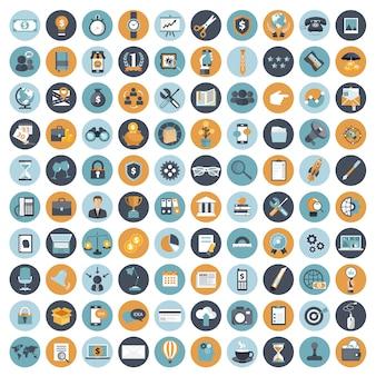 Zestaw ikon biznesowych i zarządzania dla stron internetowych i aplikacji mobilnych