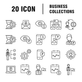Zestaw ikon biznesowych. ikony dla biznesu, zarządzania, finansów, strategii, marketingu.