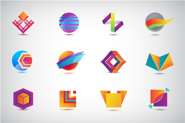 Zestaw ikon biznesowych, logo. ilustracja, projekt graficzny, zbiór ikon płaskich, koło, origami