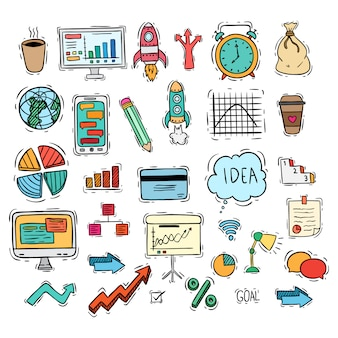 Zestaw ikon biznesowych lub elementy z kolorowym stylu doodle