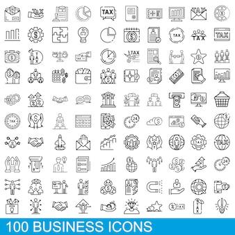 Zestaw ikon biznesowych, styl konturu