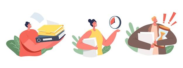 Zestaw ikon biznesowych znaków zestresowany pilną pracą. kobieta z folderu wskazując na zegar, biznesmen posiadający ogromny stos dokumentów papierowych, termin. ilustracja wektorowa kreskówka ludzie