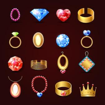 Zestaw ikon biżuteria
